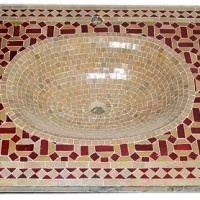 Crimson Moroccan Mosaic Sink Top