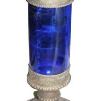 Glass & Silver Candlestick