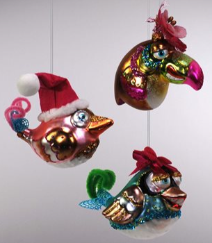 Happy Birds Blown Glass Ornaments