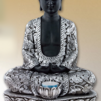 Silver Seated Buddha Candle Statuette