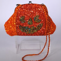Smiling Jack O Lantern Beaded Purse