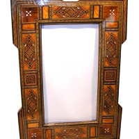 36in Wood Mosaic Mirror