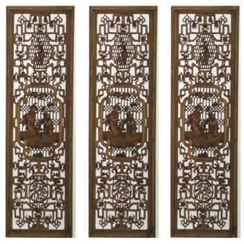 4 Seasons Hand Carved Wood Screen