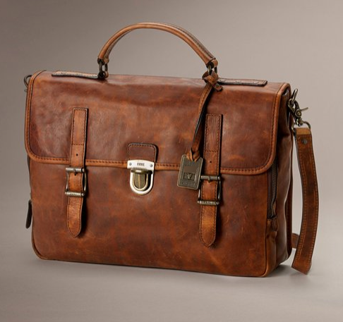 Antique Leather Buckle Briefcase
