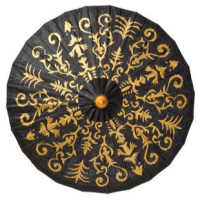 Black Gold Rice Paper Parasol