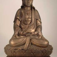 Bronze Patina Kwan Yin Seated on Double Lotus
