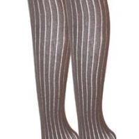 Button Ribbed Thigh High Tights