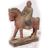 Carved Wooden Horse with Rider