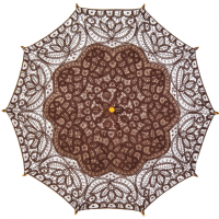 Chocolate Brown Cotton Lace Parasol