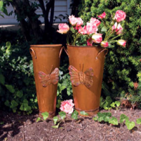 Copper Butterfly Vases