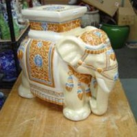 Cream White Elephant Plant Stand