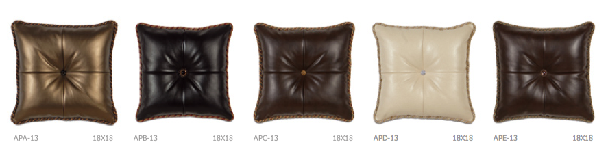 faux leather pillows detail