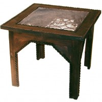 Iron Work Glass Top Side Table