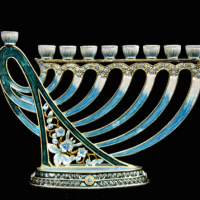 Jeweled Harp Menorah, blue