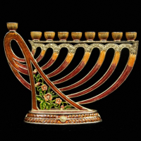 Jeweled Harp Menorah, brown