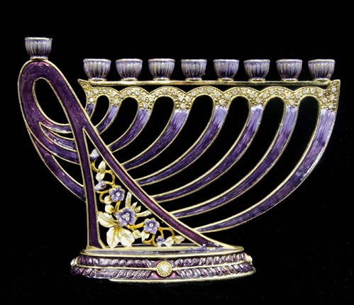 Jeweled Harp Menorah, violet