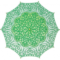 Kelly Green Cotton Lace Parasol
