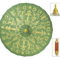Kelly Green Gilded Parasol