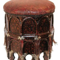 Keyhole Leather Stool