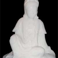 Kwan Yin Carved Marble Statue 19.5in