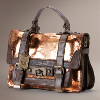 Metallized Leather Satchel