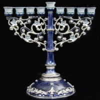 Ornate Blue Menorah