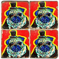 Party Hat Pug Terracotta Tiles