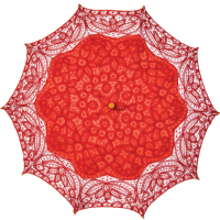 Red Cotton Eyelet Parasol