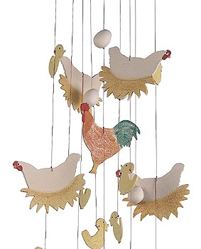 Spring Chickens Ceramic Windchime
