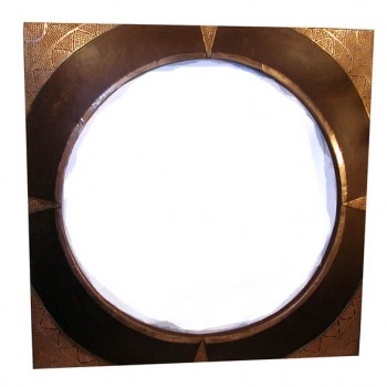 Square Leather Frame Mirror