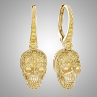 18k Gold Yellow Diamond Skull Earrings