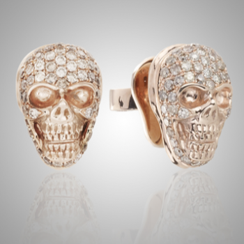 18k Rose Gold Champagne Diamond Skull Earrings