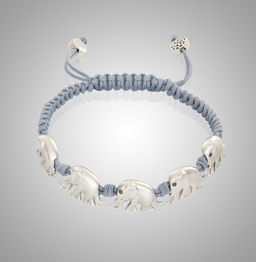 18k White Gold Elephant Bracelet