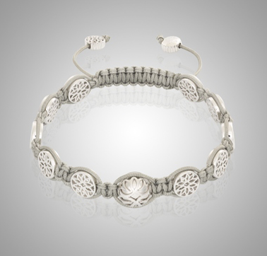 18k White Gold Lotus Bracelet