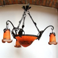Art Nouveau Wrought Iron Chandelier