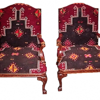 Ball and Claw Kilim Upholstered Armchair