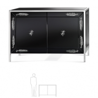 Black Beveled Glass Sideboard