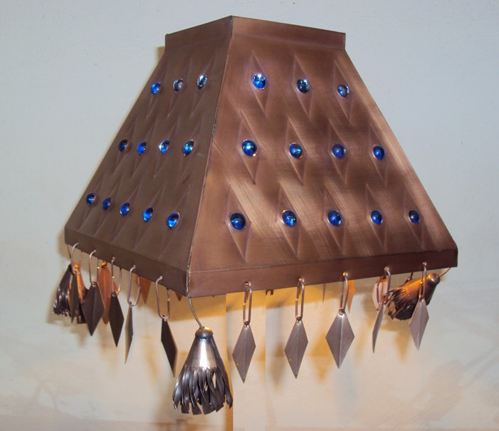 Blue Jewels Pyramid Lamp Shade