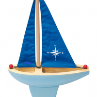 Blue Wooden Toy Sailboat
