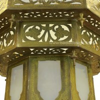 Brass & Frosted Glass Chandelier, detail