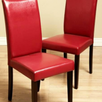 Cherry Red Leather Dining Chairs