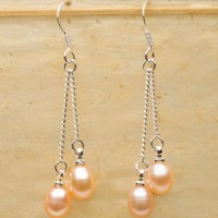 Double Pink Pearl Earrings
