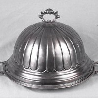 Engraved Silver Dome on Platter