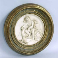 Framed Round Angel Bas Relief