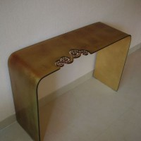 Glass Console Table, inlaid crystals