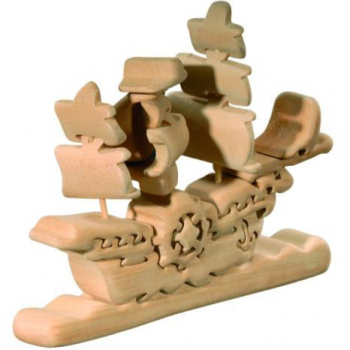 Hand-Carved 3D Ship Puzzle