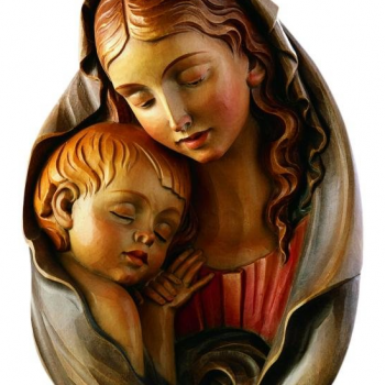 Hand-Carved Madonna & Child Figure