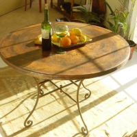 Hand-Hammered Copper Table