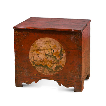 Hand Painted Antique Mongolian Trunk