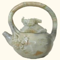 Jade Squirrel and Grapes Teapot, light